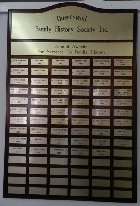 Honour Board - Annual Awards for service to QFHS