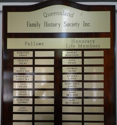 Honour Board - Fellows and Hon. Life Members