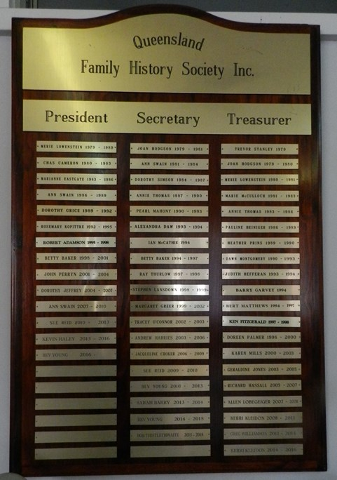 Honour Board - Office Bearers