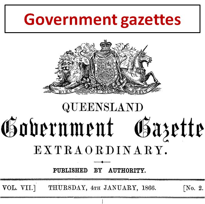 Government gazettes